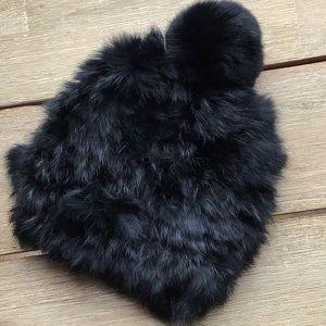 EUC rabbit fur knit beanie hat